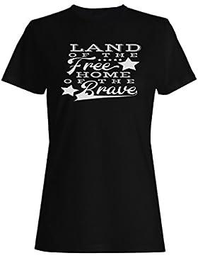 Tierra Del Hogar Libre Del Negro Valiente camiseta de las mujeres n103f