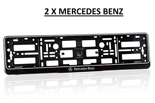 2x-black-effect-with-white-rim-number-plate-surrounds-holder-frame-for-mercedes-benz-abs-pc-plastic-