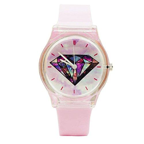 GWELL Unisex Jungen Mädchen Armbanduhr Transparent Kinder Uhren Analog Quarz für Schüler Prüfung Wasserdicht Outdoor Diamant-2