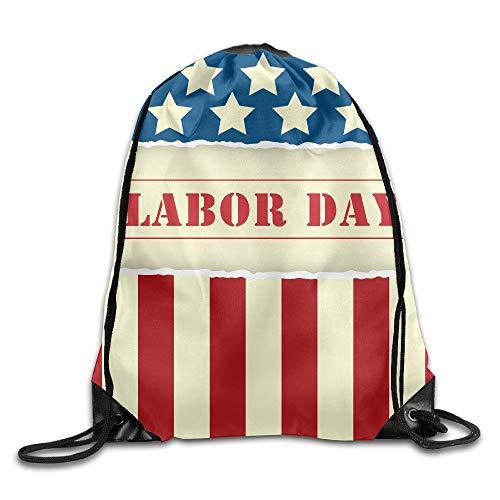 Us Flag Labor Day Cute Large Print Gym Drawstring Bags Shoulder Sport Portable Sack String Bags Lightweight Travel Backpack Tote Cinch School Rucksack -