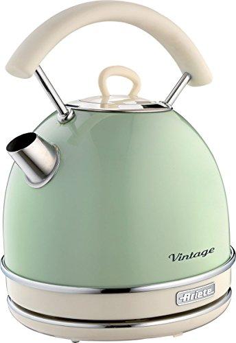 Ariete 2877 Bollitore elettrico Vintage, 2000 watt, 1,7 litri, in acciaio inox verniciato in colore Verde pastello. Per acqua, tè e tisane