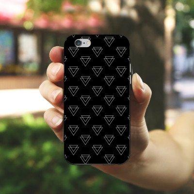 Apple iPhone 5 Tasche Hülle Flip Case Dreieck Geometrisch Muster Silikon Case schwarz / weiß