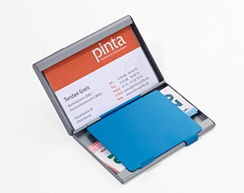 Image of Troika Dual Compartment Card Case CDC36/BL ? Business Card Holder ? 2 holes ? with Coloured Divider to create your own/on Business Cards or Credit Card Card Wallet for approx. 21 Cards Aluminium, Matt Titanium/Blue ? The Original From Troika