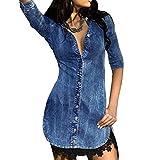 Yying Damen 3/4 Ärmel Jeanskleid V-Ausschnitt Minikleid Spitze Hemdkleid Langarm Shirtkleid Denim Freizeitkleid Unregelmäßiger Saum
