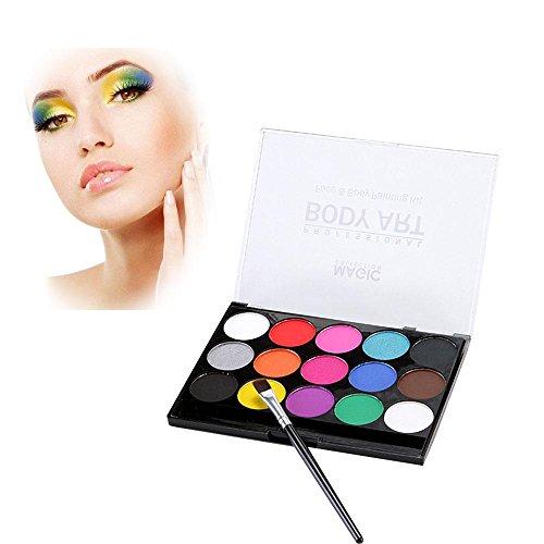 Aolvo Gesichtsmalerei-Set–15Farben Gesicht Körper Professionelle Malerei Kits für Kinder sicher Waschbar Facepainting ungiftig Makeup-Palette mit One-Feinen Pinsel für ()