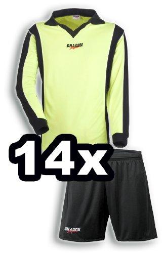 Dragon Sport 14er Trikot-Satz HOME/AWAY Langarm, Größe: M/L, Farbe: neongelb/schwarz - Hose schwarz