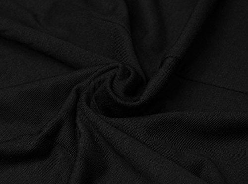 Damen Langarmshirt Rundhals Ausschnitt Pullover Schulterfrei Lang Oversize Fledermausärmel Sweatshirt Strickpullover Winter Herbst Schwarz
