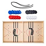 Fast Sling Puck Game, Houten Hockey Game Tafelspel, Catapult Schaken Bumper 2 in 1 Katapult Tafel IJshockey Winnaar Board Party Game Toy voor Ouder-kind