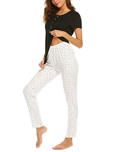 Damen Schlafanzug Kurzarm Zweiteiliger Knopfleiste Pyjama Hausanzug Viskose Nachtwäsche Set mit Oberteil Shirts und Punkt Muster Lange Hosen