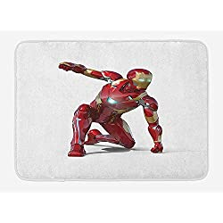 ZKHTO Superhero Bath Mat, Robot Transformer Hero with Superpower in Costume Cyber Man Fun Character Print, Plush Bathroom Decor Mat with Non Slip Backing, 23.6 W X 15.7 W Inches, White Maroon