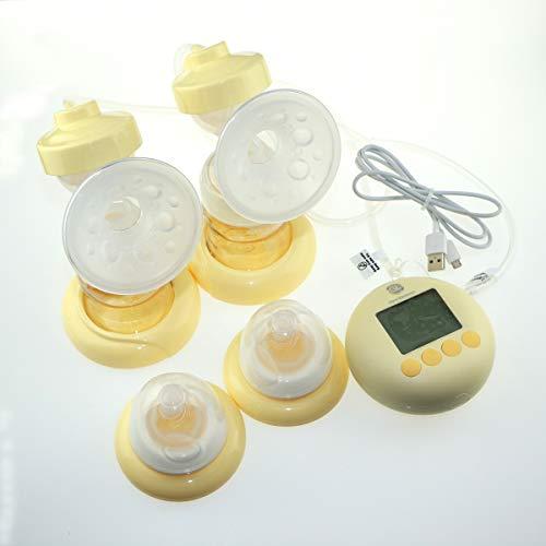 Double tire-lait électrique de Glorich pour l'allaitement maternel,affichage LCD numérique,matériaux PPSU d'Allemagne,certifié doublement de FDA et CE,avec porte de micro USB (jaune en blanc laiteux)