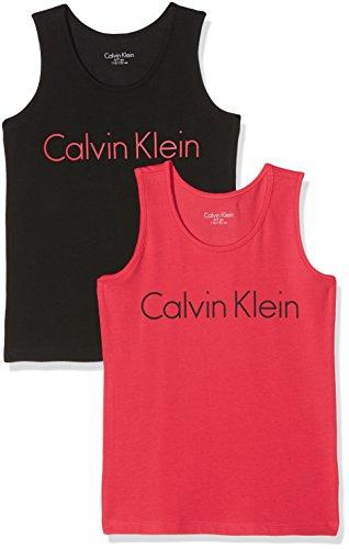 Calvin Klein Mädchen Schlafanzugoberteil 2 Pack Tank Tops, 2er Pack, Mehrfarbig (1 Raspberry/1 Blk 612), 140 (8-10)
