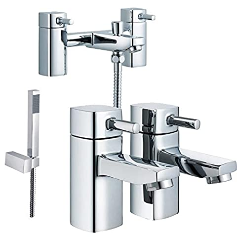 Rounded Edge Square Design Bath Mixer Tap + Shower & Hot+Cold Basin Taps (Nice 42)