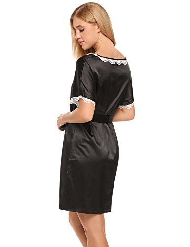 Ekouaer Damen Nachtkleid Spitze getrimmter O-Ausschnitt Kurzarm Nachthemd mit Gürtel Satin A-Linie Nachtwäsche Beige/Blau/Schwarz (S-XXL) Schwarz