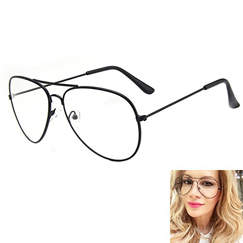 Unisex Retro Pilot Aviator Eyeglasses Metal Frame Clear lens Vintage Fashion Glasses Plain Eyewear for Men and Women Test