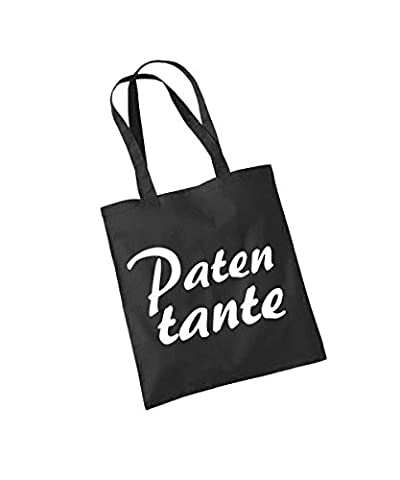 -- Patentante -- Baumwolltasche Schwarz, langer Henkel