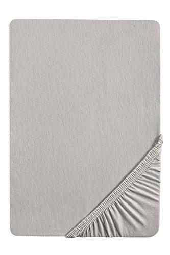 biberna 77144 Jersey-Stretch Spannbetttuch, nach Öko-Tex Standard 100, ca. 90 x 190 cm bis 100 x 200 cm, sturmgrau