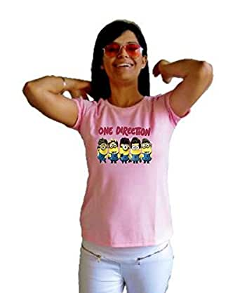 LetsFlaunt One Direction Minions T-shirt Girls Pink Dry-Fit-X-Small Nw