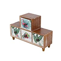 Chest of Drawers, Flamingos 4 Drawer Wooden Mini Desk Storage Decorative Jewellery Box Storage Cabinet Vintage Shabby Chic Style for Home and Office, 11.8(L) x 3.54(W) x 7.87(H) inch