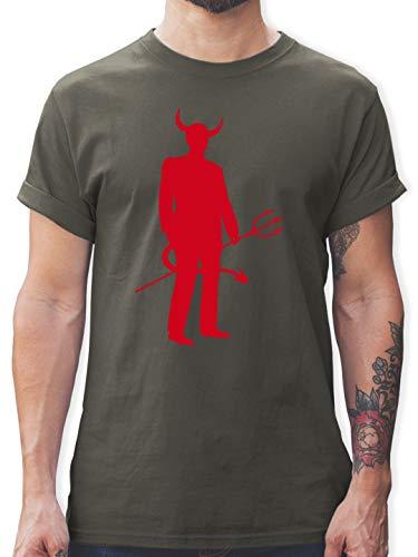 Halloween - Teufel - XL - Dunkelgrau - L190 - Herren T-Shirt und Männer Tshirt (Rote Teufel Kostüm Männlich)
