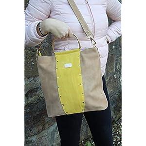 Beige/Gelbe Lederhandtasche Umhängetasche Damenhandtasche Crossover mit Metallgriffen