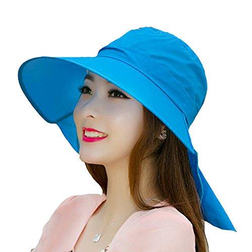 Surker Mode Grand Brim Protection Uv Chapeau de soleil Plage Hat Bleu