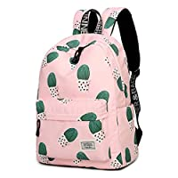 RFSAZ Backpack Waterproof Fairy Ball Plant Printing Backpack Women Cactus Bookbag Cute School Bag for Teenage Girls Kawaii Pink Knapsack