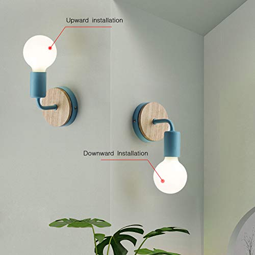 Jinyu retro industriale rustico lampada da parete in metallo illuminazione e27 per decorazione di casa bar ristoranti caffè club (senza lampadina),decorazione in legno di quercia, blu, 2 pack