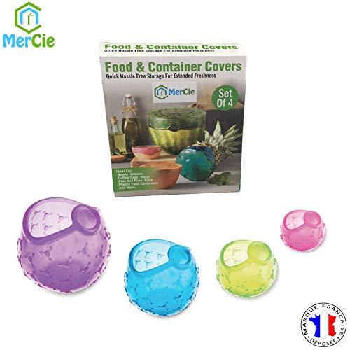 Coperchi elasticizzati riutilizzabili in silicone alimentare| 4 formati che coprono tutti i diametri da 3,5 cm a 25 cm per contenitori o frutta e verdura| coperchi universali estensibili |zero rifiuti