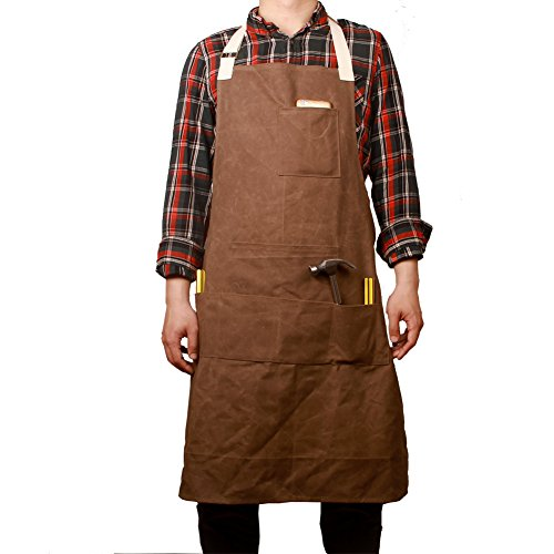 Hense Unisex Schwere Arbeitsschürze aus gewachstem Canvas mit wasserdichter Funktion, weich und belüftet für Küche, Garten, Keramik, Werkstatt, Garage und mehr (HSW-065)Kaffee