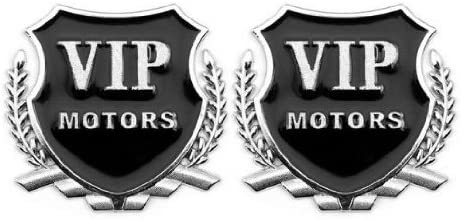 Automaze VIP Motors 3D Metal Car Logo(Set of 2, Silver)