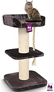 Arbre à chat Petrebels REBEL MAINE COON 120cm de haut en marron royal - Arbre à chat XXL extrêmement stable pour les grands chats.