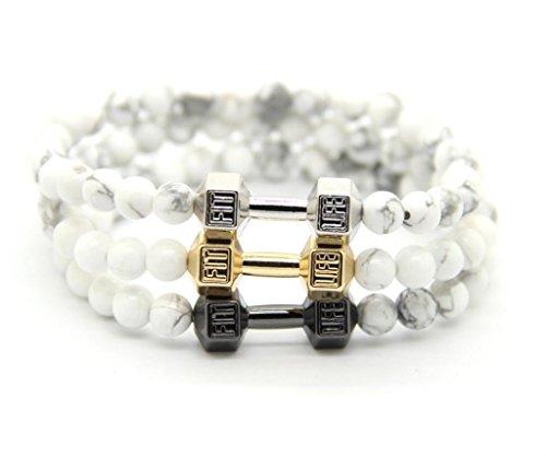 GOODdesigns-Fitness-Perlen-Armband-aus-Howlith-Natursteinen-Hantel-Anhnger-in-Schwarz-Gold-Silber