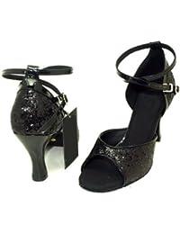 Colorfulworldstore Zapatos de baile latino abiertos con lentejuelas de color rojo/negro