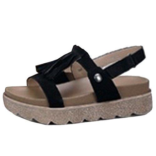 COOLCEPT Femmes Mode Forme Plate Sandales Orteil Ouvert Scratch Chaussures With Frange Noir