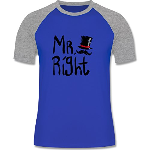 Shirtracer Hochzeit - Mr. Right Pinsel - Herren Baseball Shirt Royalblau/Grau  meliert