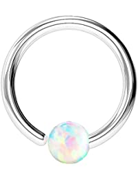 ~ Gift boxed ~ Annealed Nose Hoop Lip, Ear ring bar daith tragus snug rook helix with Opal in 8mm & 10mm ~ White ~ Pink ~ Blue ~316L surgical steel