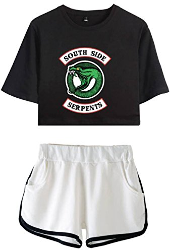 OLIPHEE Damen Riverdale Southside Serpents gedruckt Crop T-Shirt + Shorts Set Sport Anzug Schwarz Weiß M