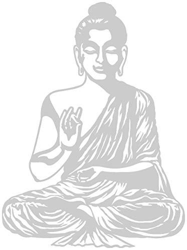 Samunshi® Wandtattoo Buddha Wandsticker in 9 Größen und 25 Farben (59x80cm silbermetalleffekt)