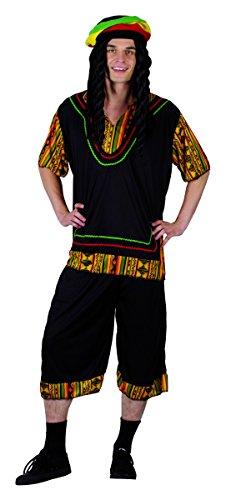 Rasta Herren-Kostüm schwarz-bunt Einheitsgröße