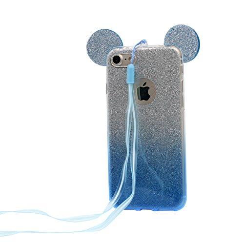 iPhone 6S Copertura Protettiva Bello Cartoon Topo Orecchie Forma Polvere glitter Serie Magro leggera Trasparente Morbido Custodia Case per Apple iPhone 6 6S 4.7 inch blu