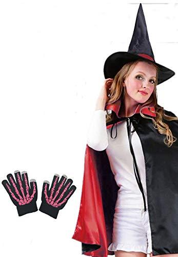 Shmily Girl Umhang mit Kapuze Hexenmantel schwarzer Karneval / Halloween-Kostüm (Erwachsener, Hut+Umhang+Ghost Handschuhe -Set Rot)