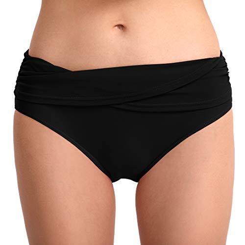 FEOYA Damen Tanga Bikinihose String Rüschen Brazilian Bikini Slip Schnüren Höschen Schwarz M (Bikini-höschen)