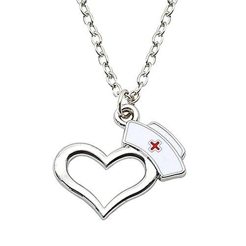 LecimoSilber überzogene Lampe Halskette Krankenpflege Abschluss Geschenk Krankenschwester Cap Herz