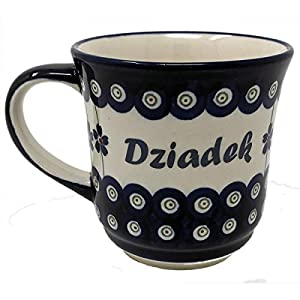 Polish Pottery Stoneware Coffee & Tea Mug with Polish Names – 400 mL – 13.5 oz (Dzaidek)