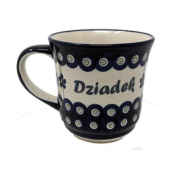 Polish Pottery Stoneware Coffee & Tea Mug with Polish Names – 400 mL – 13.5 oz (Dzaidek)