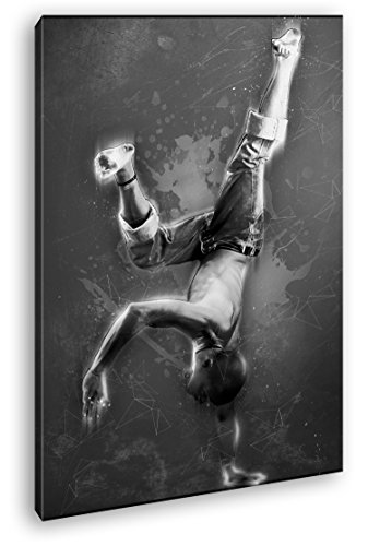 Breakdance - Illustration Format: 80x60 Effekt: Schwarz/Weiß als Leinwandbild, Motiv fertig gerahmt...