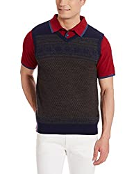 Louis Philippe Mens Woollen Sweater (8907545553690_LPSW516M18133_Large_Light Grey With Blue )