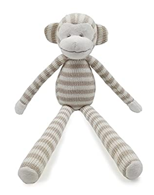 Kiyi-Gift Baby Comforter Toy | Cute Soft Long legs Monkey Plush Toy | Organic Cotton Knitted Huggable for Baby/Infant/Toddler