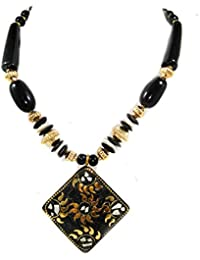 15-ARFA Stone Beads Charms Necklace Black/white-Golden Pendant-Rhombus Shape (Pack Of One Piece) With Designer...